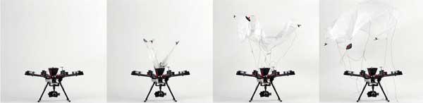 Раскрытие парашюта для квадрокоптера